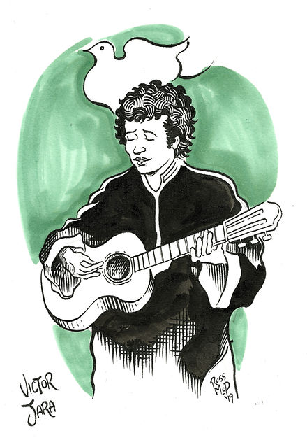 Victor Jara with the Dove of Peace