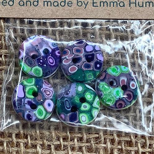 5 buttons Approx 11mm diameter