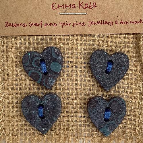 4 heart buttons Approx. 19mm