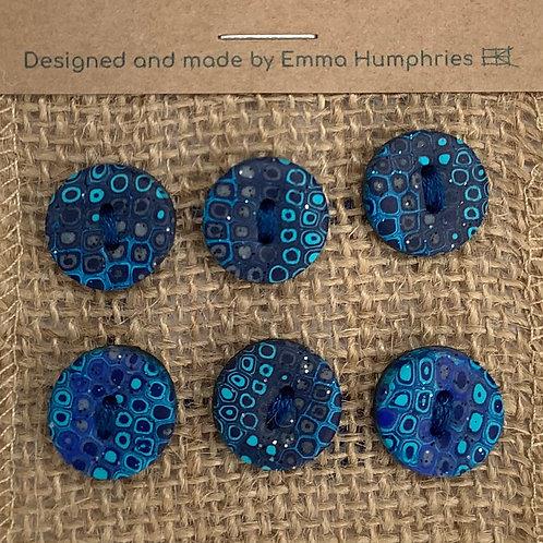 6 buttons Approx 11mm diameter