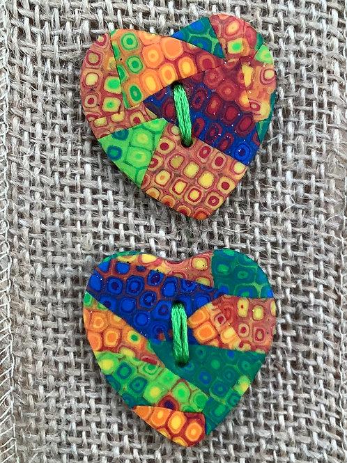 2 heart buttons Approx. 35mm