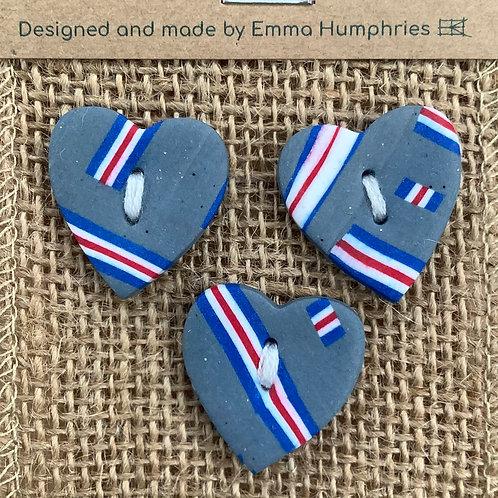 3 heart buttons Approx. 25mm