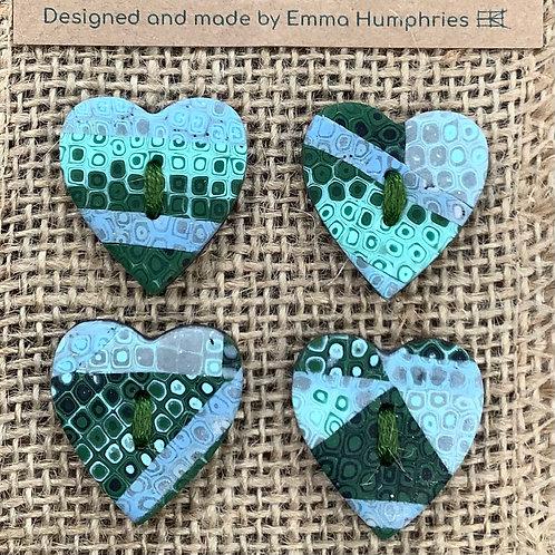 4 heart buttons Approx. 25mm