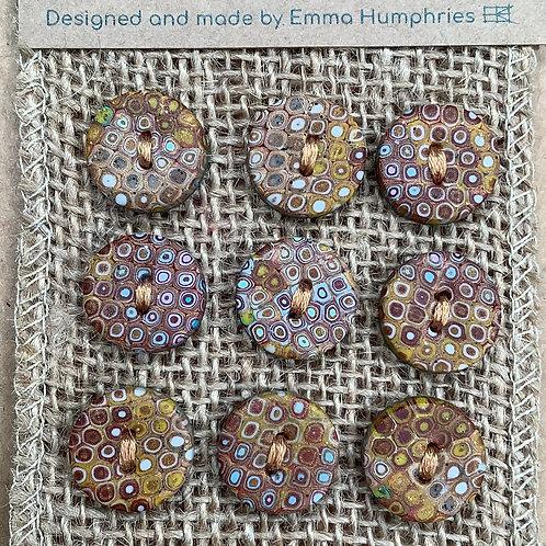 9 button Approx 15mm diameter