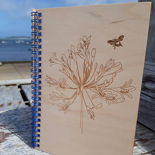 Customised Agapanthus & Bee Note Book
