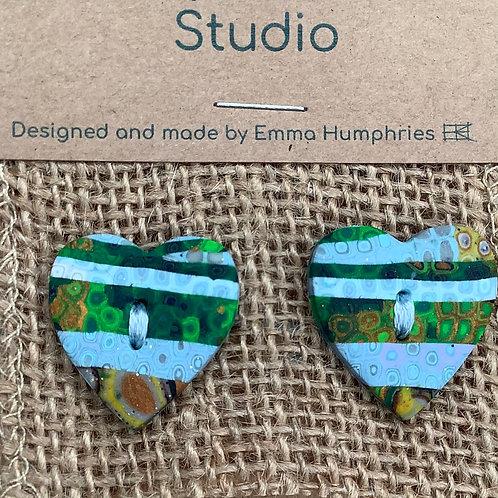 2 heart buttons Approx. 25mm