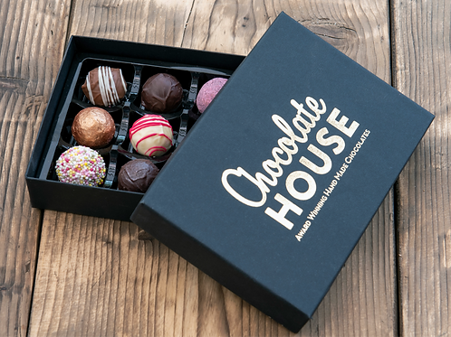 12 Handmade Chocolates in a Black Luxury Box