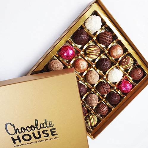 25 Handmade Luxury Welsh Chocolates in a Gold Box