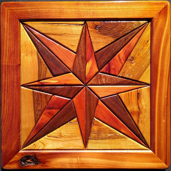 (211) Quilt Block Wall Hanging - Compass Rose