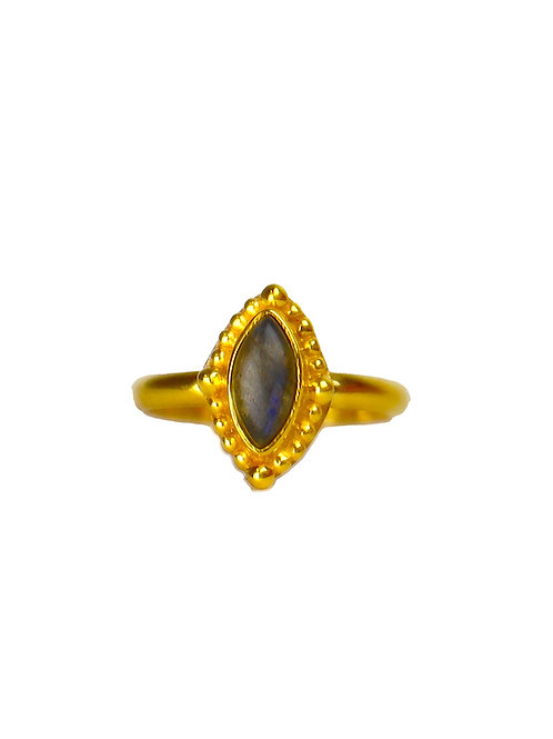 Labradorite Power ring gold | gouden ring