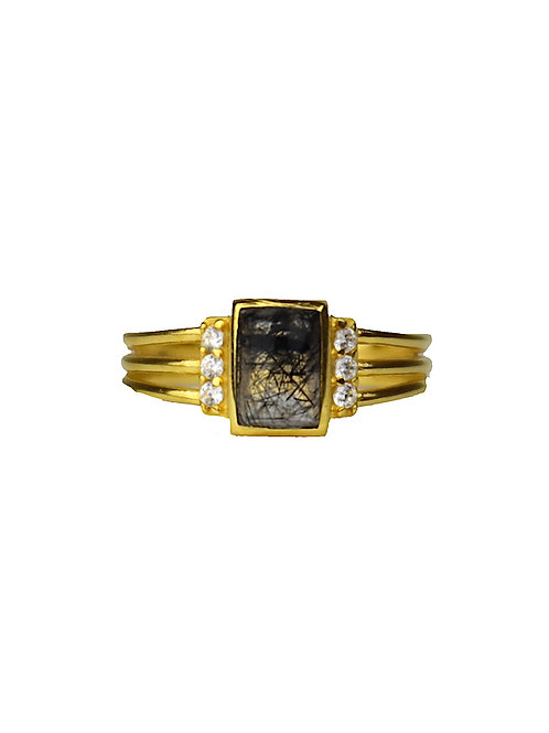 Gold Black Rutile Diamond | gouden ring