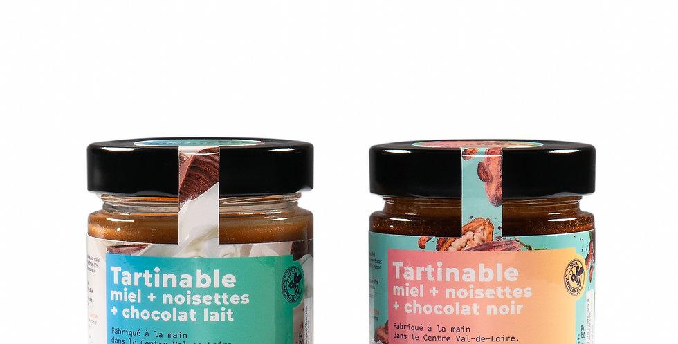 TARTINABLE Miel + Noisettes + Chocolat (noir ou lait)