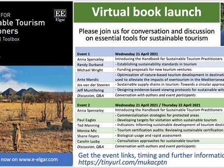 """""""The Handbook for Sustainable Tourism Practitioners"""" − Author, presenter, co-host of 2 launch events"""