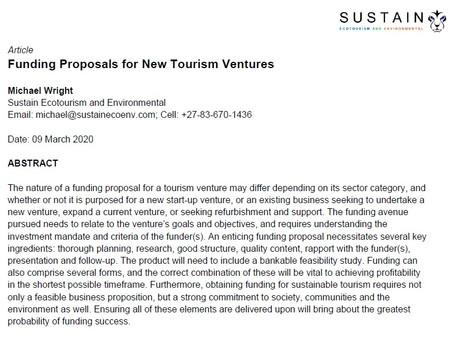 Funding Proposals for New Tourism Ventures