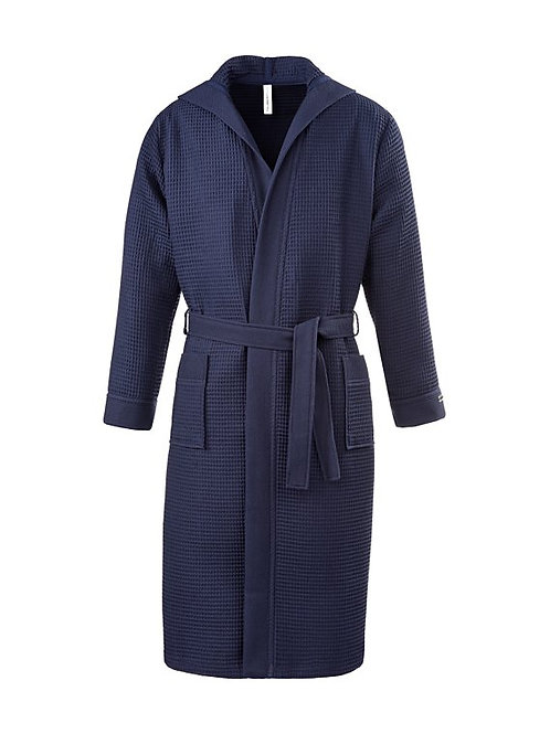 Piqué badjas met capuchon lengte Kleur: Navy Blue