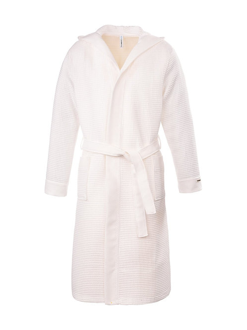 Piqué badjas met capuchon lengte Kleur: White