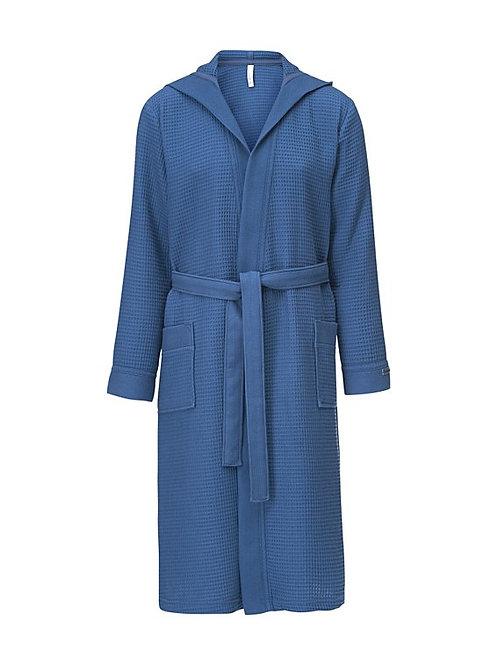 Piqué badjas met capuchon lengte Kleur:Jeans Blauw