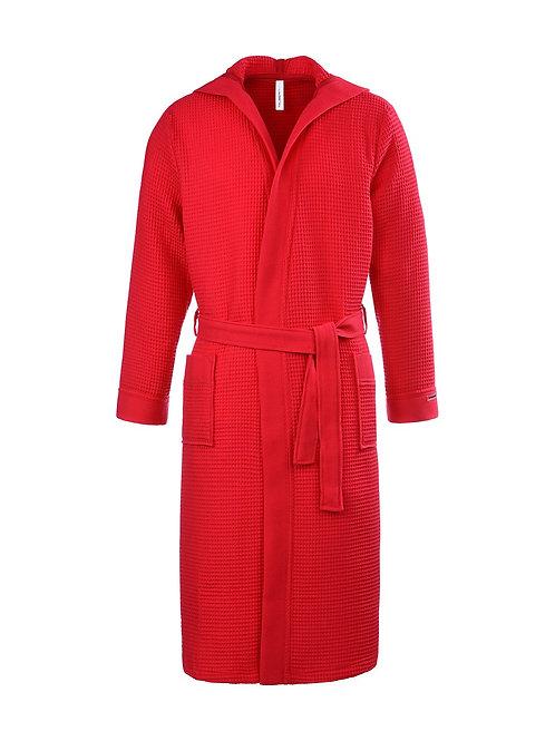 Piqué badjas met capuchon lengte Kleur: rood