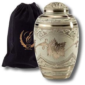 Cream Wash Solid Brass Urn