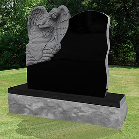 SITTING ANGEL WITH FLOWERS HEADSTONE