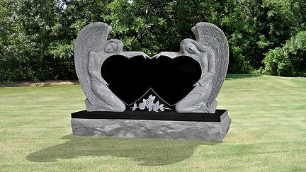 DOUBLE ANGEL DOUBLE HEART HEADSTONE