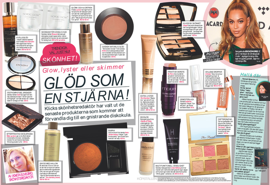 Afton Bladet Sweden Gow like a start   Anne Jensen glow powder
