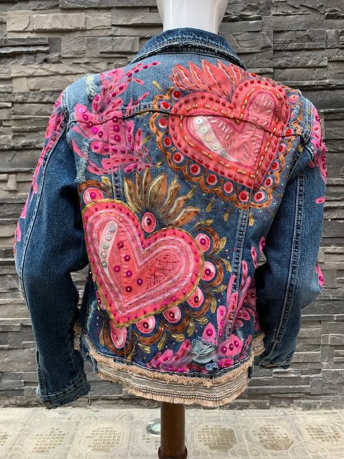 Dos corazones rosa