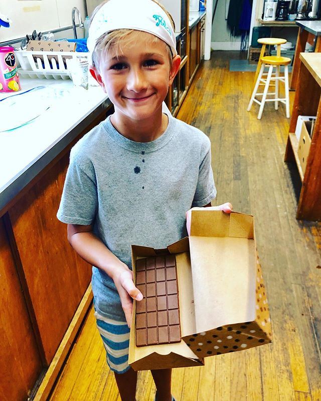 The kids made their own chocolate bars.