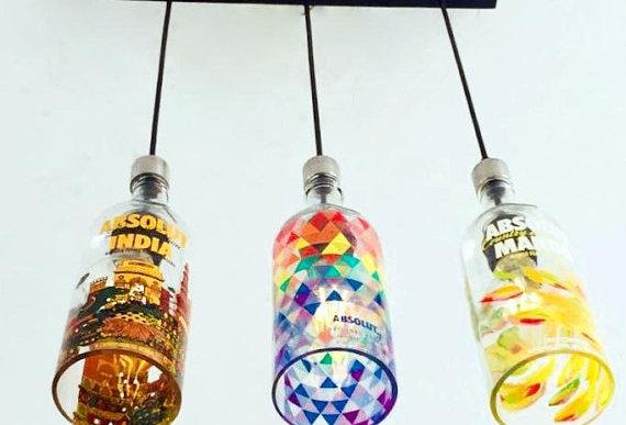 Absolut Flavours VodkaBottle Chandelier | Liquor Bottle Light for kitchen & bar