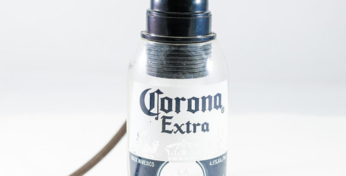 Corona Beer Bottle Pendant Light Lamp Fixture | Industrial Bottle Light