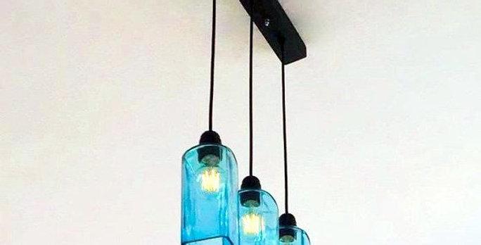 Bombay Sapphire Blue GinBottle Chandelier | Single Line Bar & Kitchen Light