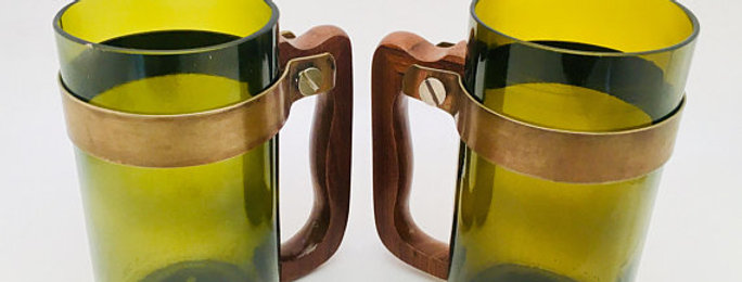 Handcrafted Beer Bottle Mug | Repurposed Olive Green WineBottles