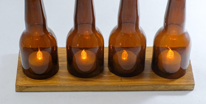 Beer Bottle LED Candle Holder Stand with a wooden base