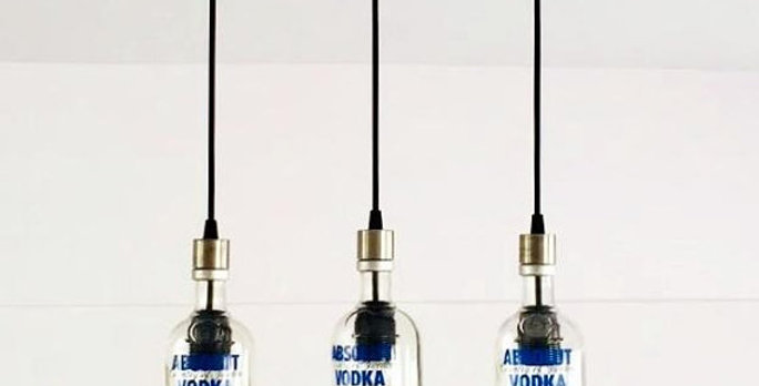 Absolut VodkaBottle Cut Chandelier | Liquor Bottle Lights for kitchen & bar