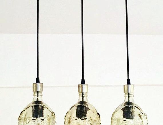 Old Monk Rum Bottle Chandelier for kitchen island or man cave bar