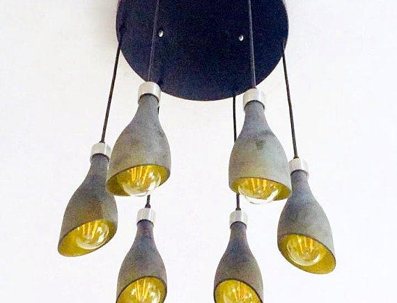 Frosted Wine Bottle Lights Chandelier | Light Fixture Made from 6 Bottles