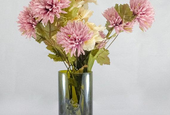 Repurposed Wine Bottle Flower Vase | Cobalt Blue | Clear | Olive Green | Amber
