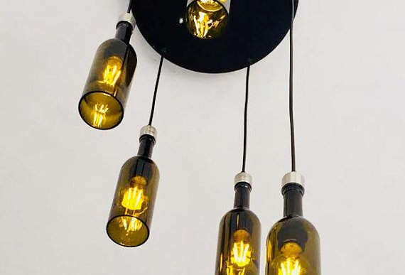 Repurposed Wine Bottle Cut Chandelier | Lights for Foyer & Living room