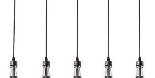 Wine Bottle Clear Industrial Light Fixture | Custom Wood Base Bottle Chandelier