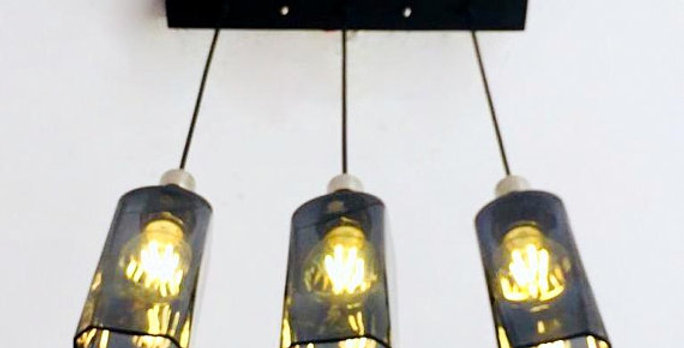Johnnie Walker Double Black Bottle Industrial Light Fixture | Chandelier Lamp