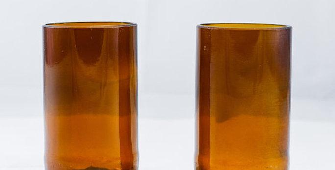 16 Ounce | 470 mls Amber Brown Tumbler Cups | Repurposed Glassware