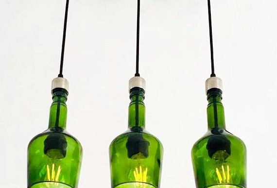 Repurposed Green Whiskey Bottle Cut Chandelier | Lights for kitchen & bar