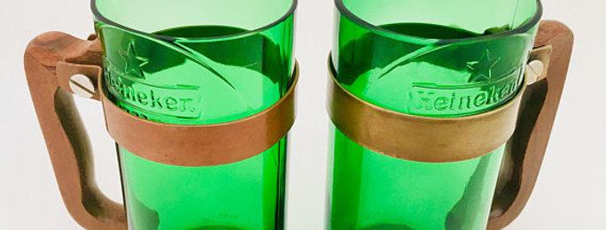 Handcrafted Beer Bottle Mug | Repurposed Green HeinekenBottles