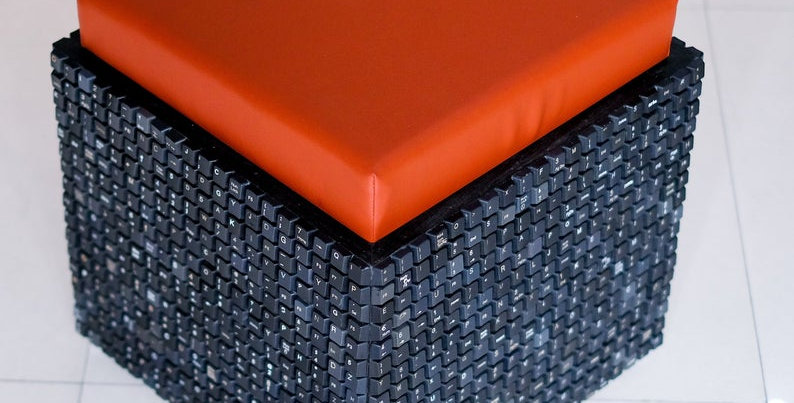 Modern Recycled Ottoman | Stool Made from Keyboard Keys