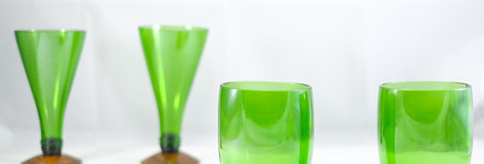 Perrier Green Water Bottle Glasses | Fancy Green Home Eco Glassware Gift Set