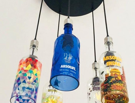 Colourful Absolut Round Industrial Bottle Light Fixture