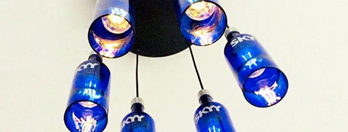 Cobalt blue 6 bottle Chandelier | Industrial Skyy Vodka Bottle Light Fixture
