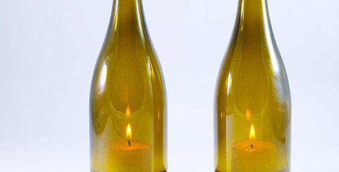 Wine Bottle Tea Light Wedding Table Decoration Set | Custom Engraving