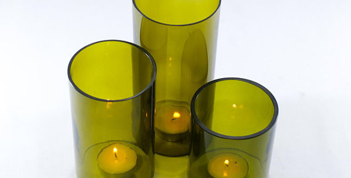 Wine bottle Tea Light Hurricane candle cover Trio set : Olive Green