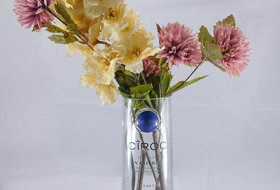 Repurposed Ciroc Vodka Bottle Flower Vase Pot | Blue | Eco Gifts